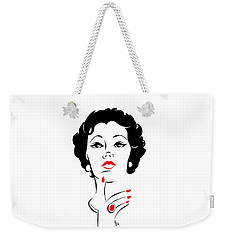 Weekender Tote Bag featuring the digital art Red Nails Red Lips by Cindy Garber Iverson