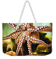 Red Octopus Weekender Tote Bag by Marilyn Hunt