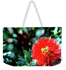Weekender Tote Bag featuring the photograph Red Ohia Plants And Flowers  by D Davila
