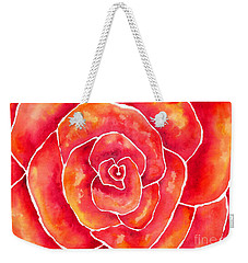 Red-orange Rose Macro Weekender Tote Bag