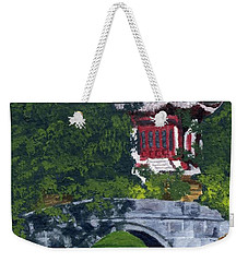 Weekender Tote Bag featuring the painting Red Pagoda by Lynne Reichhart