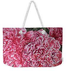 Red Peonies Weekender Tote Bag by Kim Tran