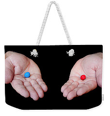 Red Pill Blue Pill Weekender Tote Bag by Semmick Photo