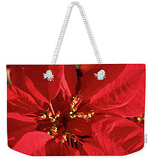 Weekender Tote Bag featuring the photograph Red Poinsettia Macro by Sally Weigand
