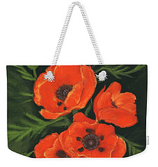 Weekender Tote Bag featuring the painting Red Poppies by Anastasiya Malakhova