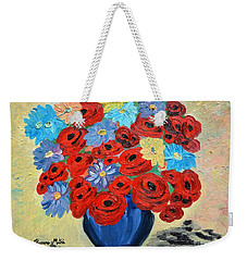 Red Poppies And All Kinds Of Daisies  Weekender Tote Bag by Ramona Matei