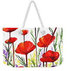 Weekender Tote Bag featuring the painting Red Poppies Art By Irina Sztukowski by Irina Sztukowski