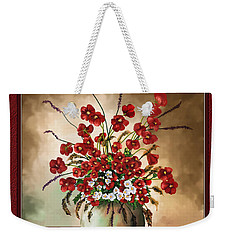 Weekender Tote Bag featuring the digital art Red Poppies by Susan Kinney