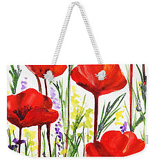 Weekender Tote Bag featuring the painting Red Poppies Watercolor By Irina Sztukowski by Irina Sztukowski