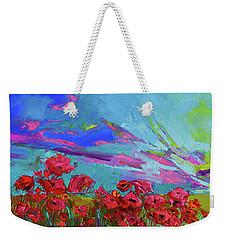 Red Poppy Flower Field, Impressionist Floral, Palette Knife Artwork Weekender Tote Bag