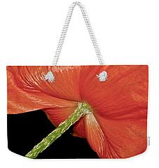 Red Poppy Flower On Black Background Weekender Tote Bag by Carol F Austin