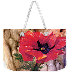 Weekender Tote Bag featuring the painting Red Poppy by Sherry Shipley