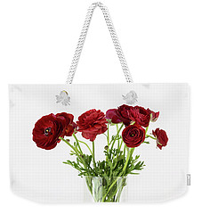 Weekender Tote Bag featuring the photograph Red Ranunculus by Kim Hojnacki