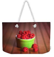 Red Raspberries Still Life Weekender Tote Bag by Tom Mc Nemar