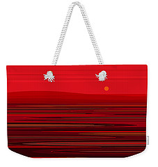 Weekender Tote Bag featuring the digital art Red Ripple II by Val Arie
