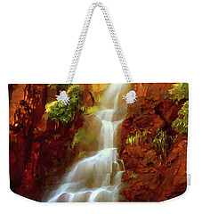 Weekender Tote Bag featuring the painting Red River Falls by Peter Piatt