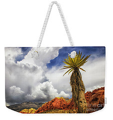 Red Rock Canyon Vintage View Of A Yucca Sky And Rocks Weekender Tote Bag