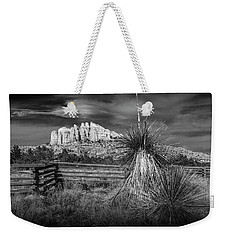 Weekender Tote Bag featuring the photograph Red Rock Formation In Sedona Arizona In Black And White by Randall Nyhof