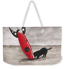 Weekender Tote Bag featuring the painting Red Rocket by Edwin Alverio