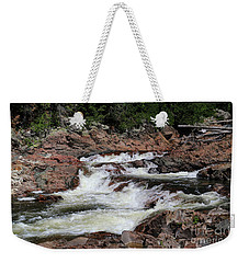 Weekender Tote Bag featuring the photograph Red Rocks Of Chippewa Falls by Rachel Cohen