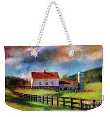 Weekender Tote Bag featuring the digital art Red Roof Barn by Lois Bryan