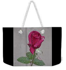Red Rose In Rain Weekender Tote Bag