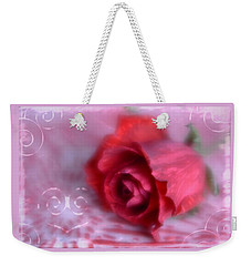 Weekender Tote Bag featuring the photograph Red Rose Love by Diane Alexander
