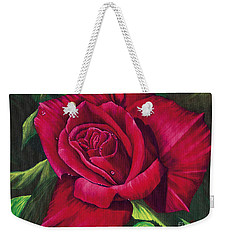 Red Rose Weekender Tote Bag by Nancy Cupp