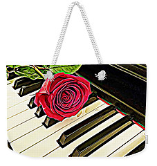 Red Rose On A Piano  Weekender Tote Bag