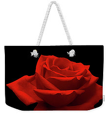 Red Rose On Black Weekender Tote Bag by Wim Lanclus