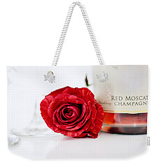 Red Rose With Champagne Weekender Tote Bag by Serena King