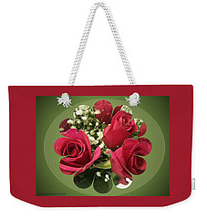 Weekender Tote Bag featuring the digital art Red Roses And Baby's Breath Bouquet by Sonya Nancy Capling-Bacle