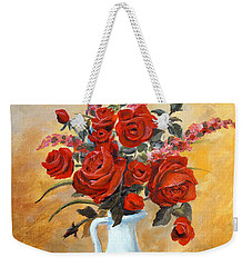 Red Roses In A White Pitcher Weekender Tote Bag