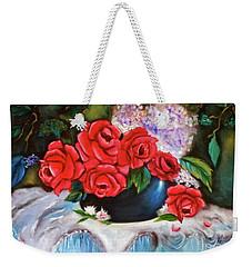 Red Roses Weekender Tote Bag by Jenny Lee