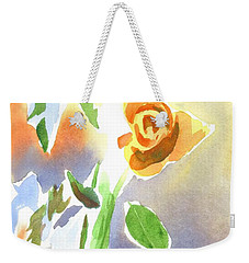 Weekender Tote Bag featuring the painting Red Roses With Holly In A Vase by Kip DeVore