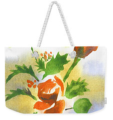 Weekender Tote Bag featuring the painting Red Roses With Holly by Kip DeVore