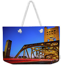 Weekender Tote Bag featuring the photograph Red Runner- by JD Mims