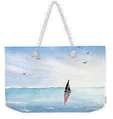 Red Sails On A Blue Sea Weekender Tote Bag by Pattie Calfy
