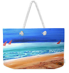 Weekender Tote Bag featuring the painting Red Sails by Winsome Gunning