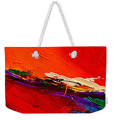Weekender Tote Bag featuring the painting Red Sensations by Elise Palmigiani