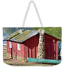 Red Shed And Canoe Weekender Tote Bag by Susan Leggett