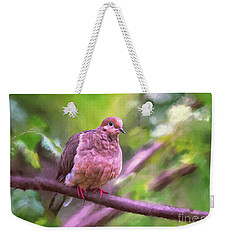 Weekender Tote Bag featuring the digital art Red Shoes by Lois Bryan