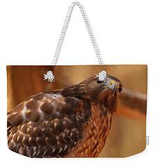 Weekender Tote Bag featuring the digital art Red Shouldered Hawk 1  by Chris Flees
