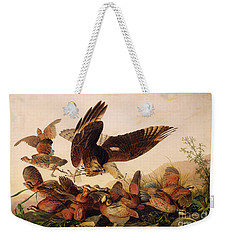 Red Shouldered Hawk Attacking Bobwhite Partridge Weekender Tote Bag