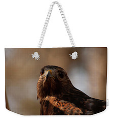 Weekender Tote Bag featuring the photograph Red Shouldered Hawk Close Up by Chris Flees