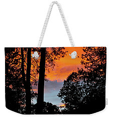 Weekender Tote Bag featuring the photograph Red Sky At Night by Michele Myers