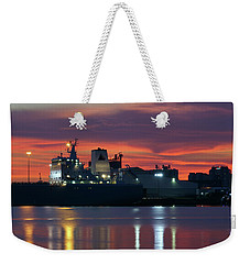 Red Sky At Night Over Port Of Tampa Weekender Tote Bag