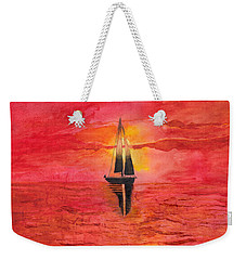 Red Sky At Night Sailors Delight Watercolor Weekender Tote Bag