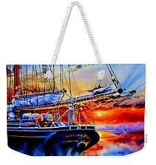 Weekender Tote Bag featuring the painting Red Sky In The Morning by Hanne Lore Koehler