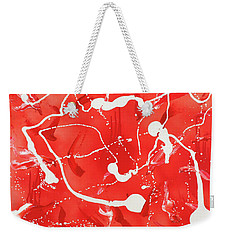 Weekender Tote Bag featuring the painting Red Spill by Thomas Blood